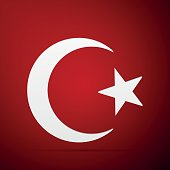 Star and crescent symbol of Islam icon on red background.