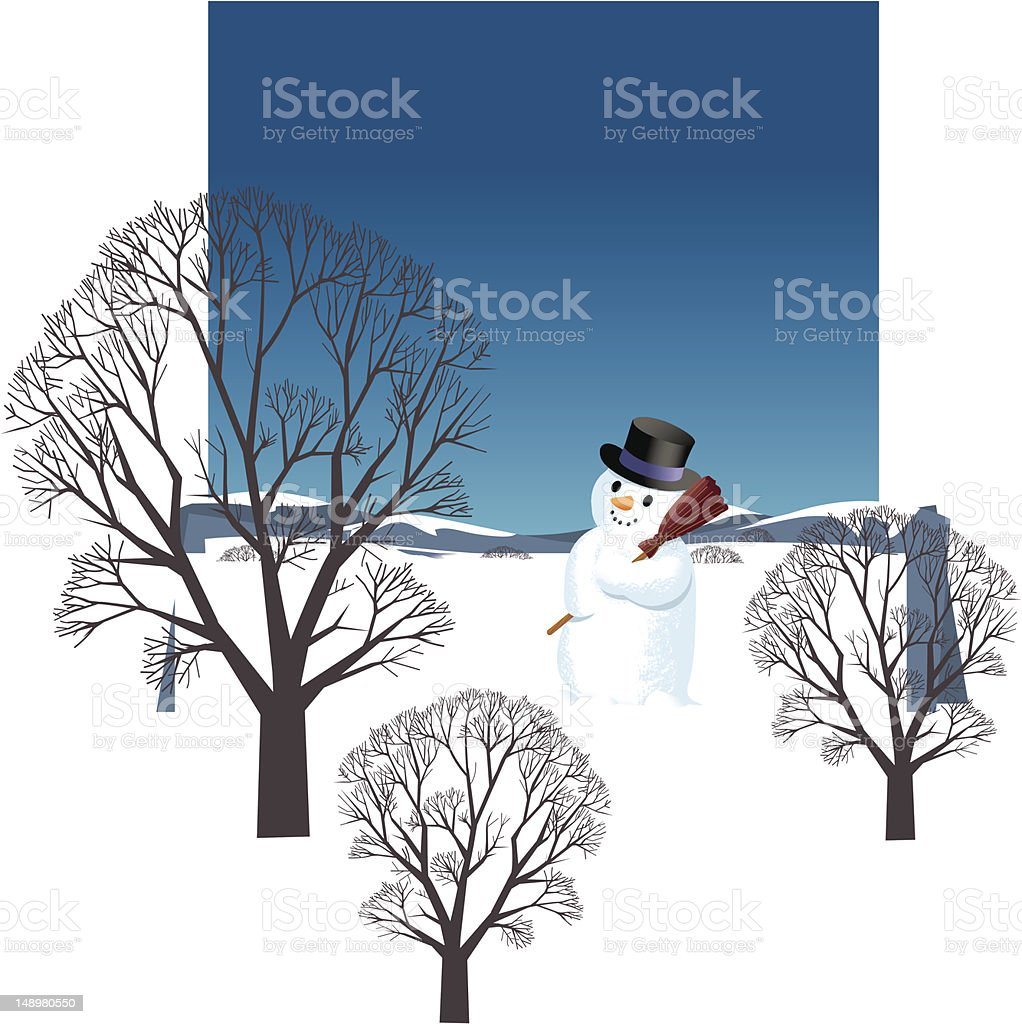 Star and Snowman vector art illustration