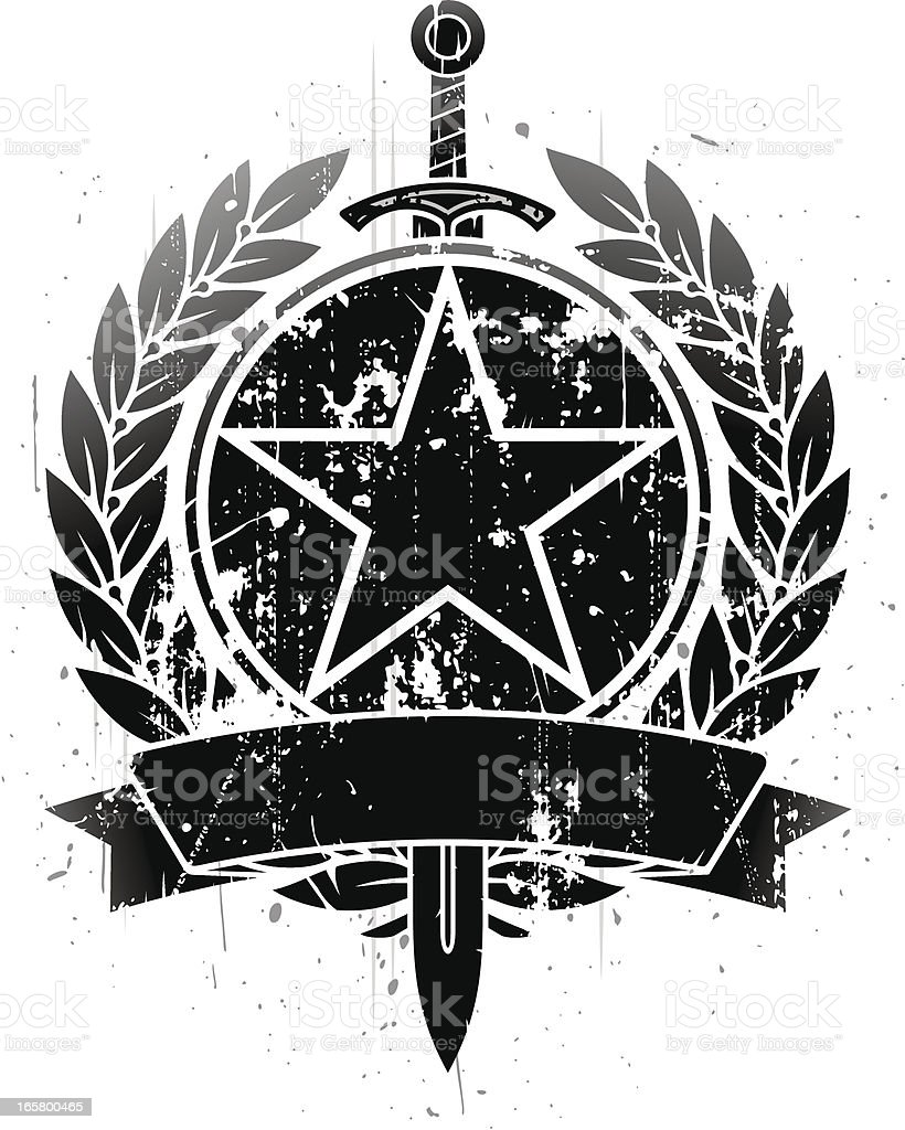Star and sword emblem royalty-free stock vector art