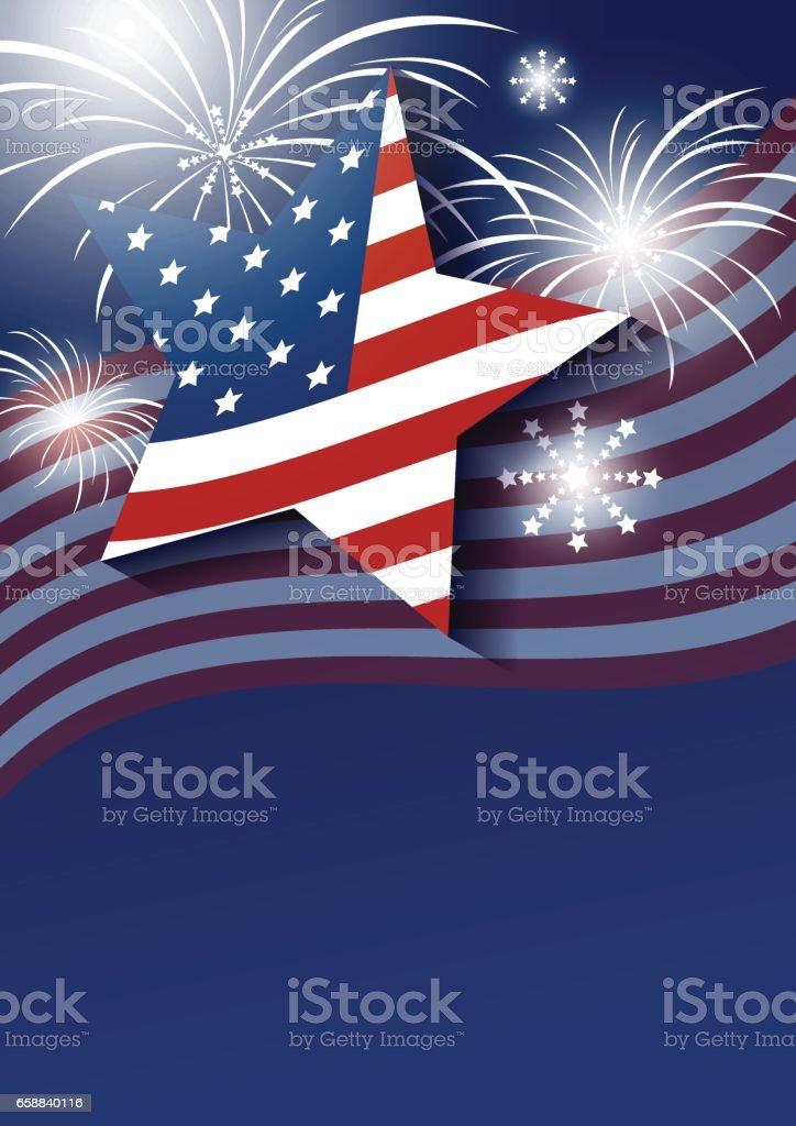 Star and USA flag with fireworks design on blue background vector art illustration