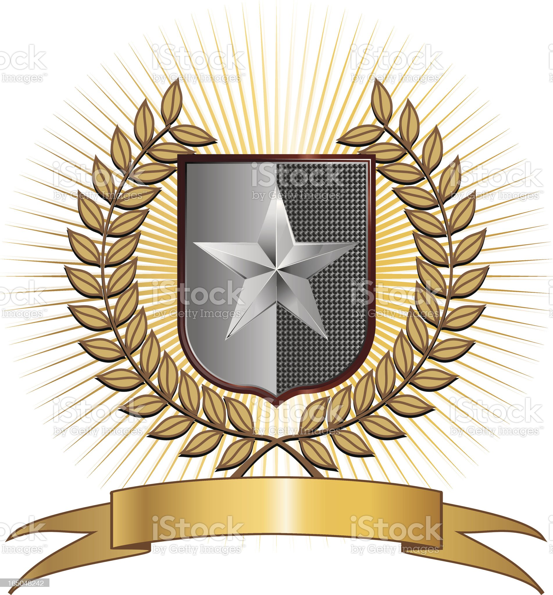 Star badge with laurel wreath royalty-free stock vector art