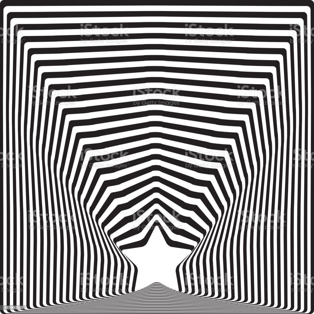 Star black stripes optical illusion visual art effect. vector royalty-free stock vector art