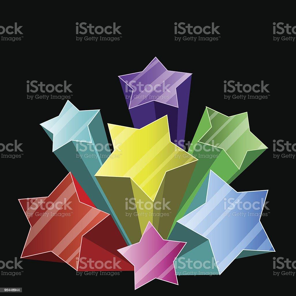 3D star burst vector art illustration
