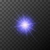 Star burst with purple sparkles