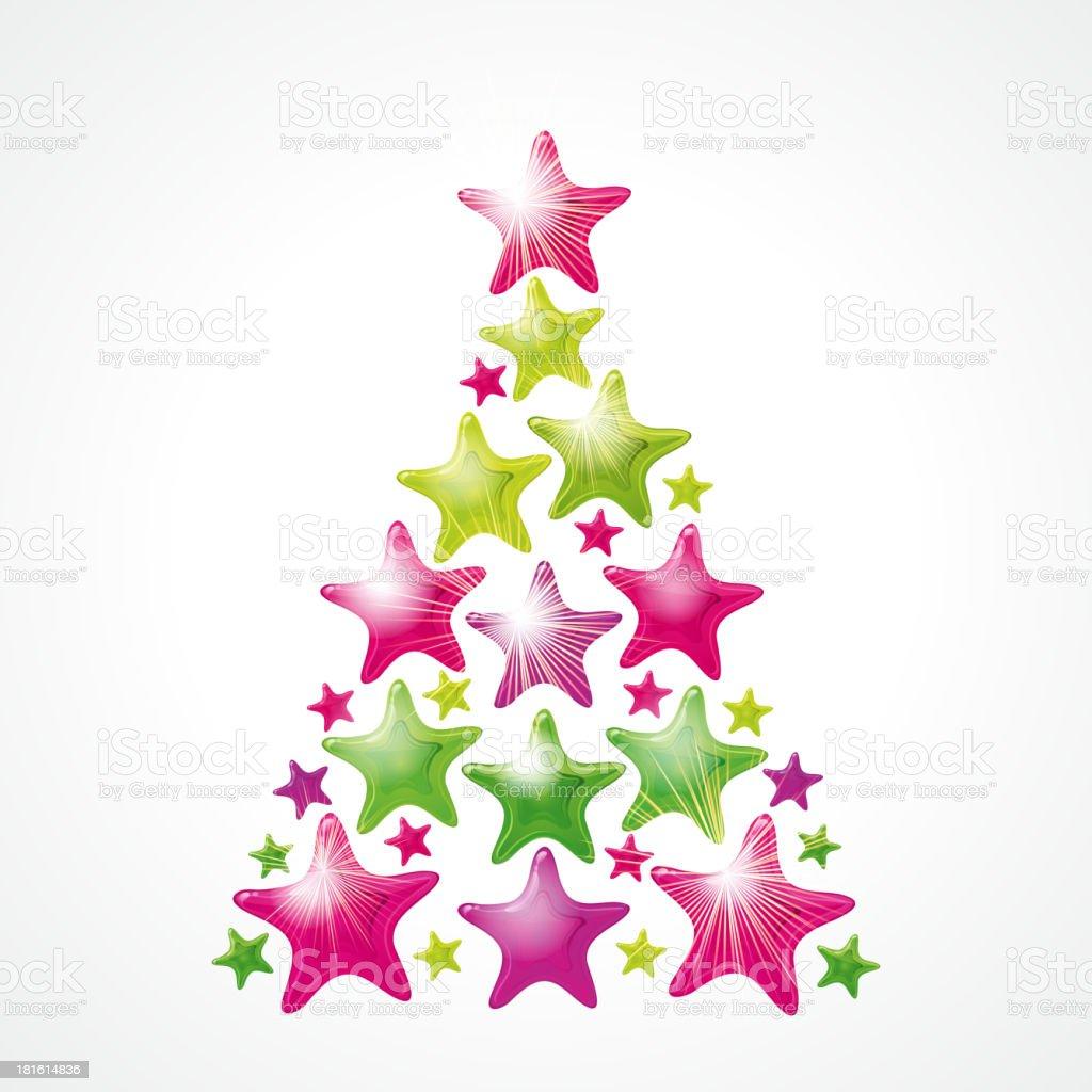 Star Christmas tree - vector royalty-free stock vector art