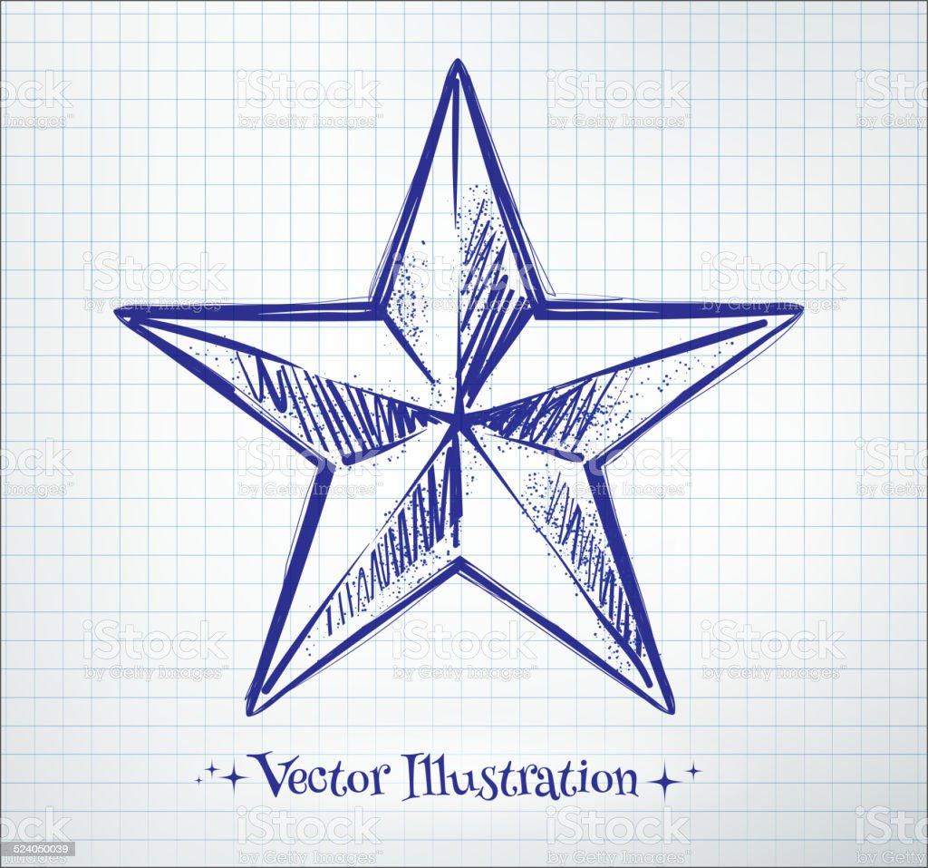 Star drawn on checkered paper. vector art illustration
