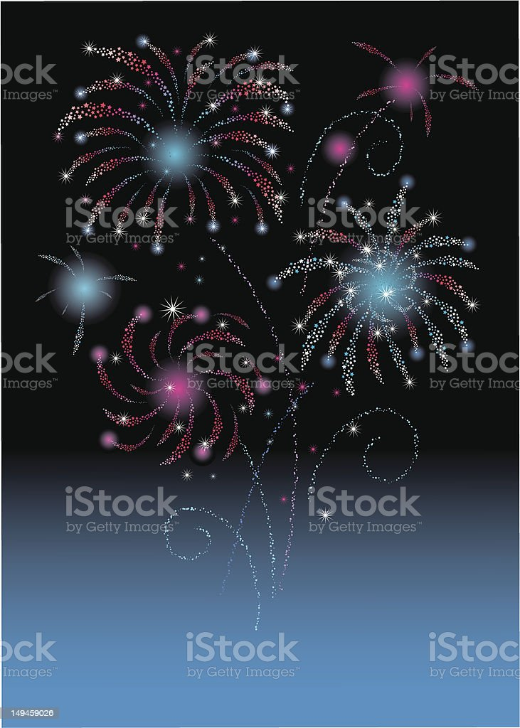 star firework card / fourth of july / new year vector art illustration