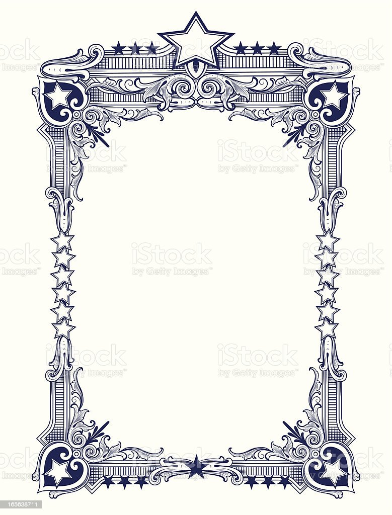 Star Frame with americana scrollwork royalty-free stock vector art