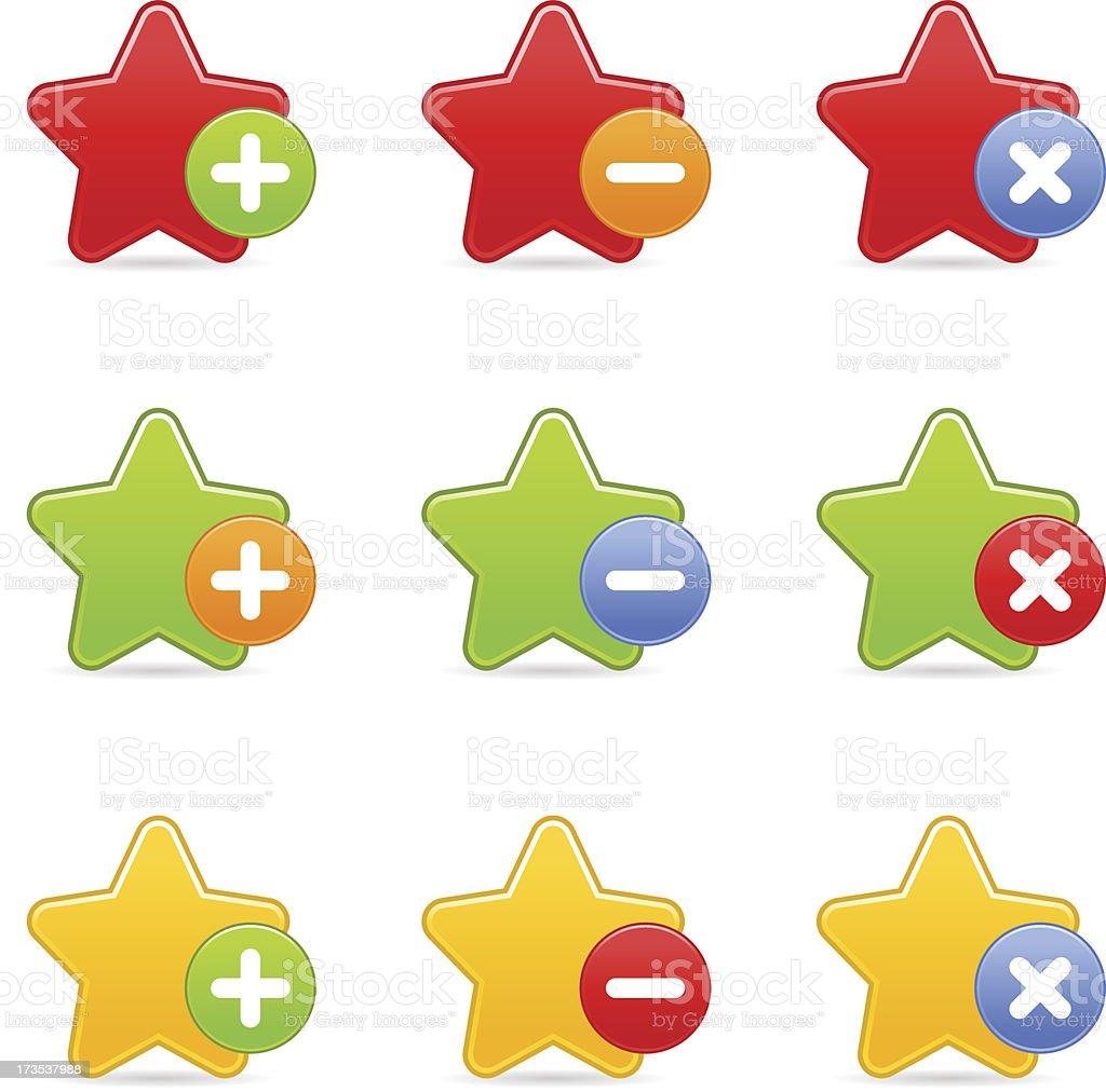 Star icon set circle buttons plus minus delete white background royalty-free stock vector art