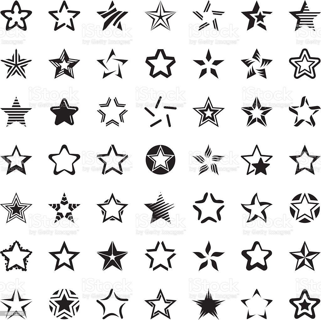 Star icon set vector art illustration