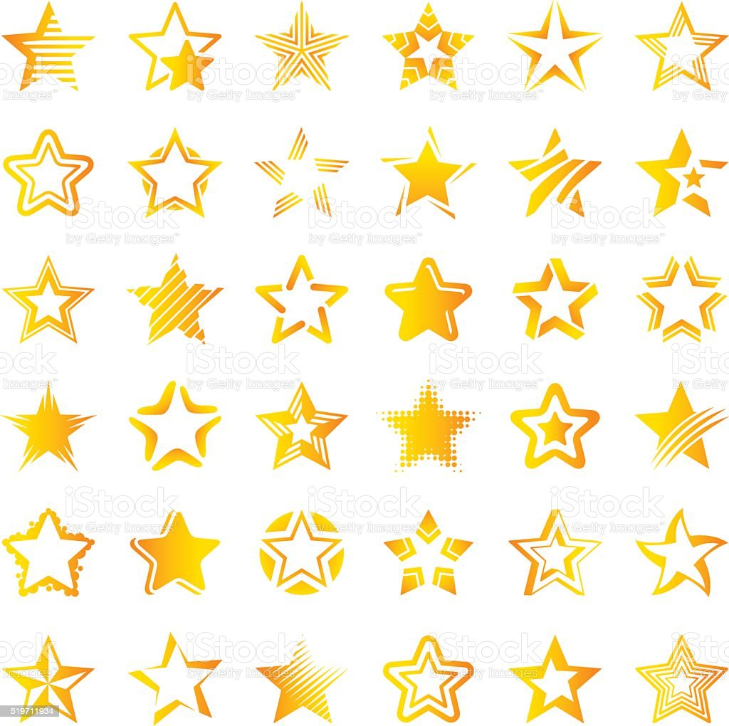 Star icon set vector art illustration