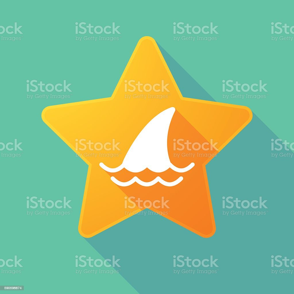 Star icon with a shark fin vector art illustration