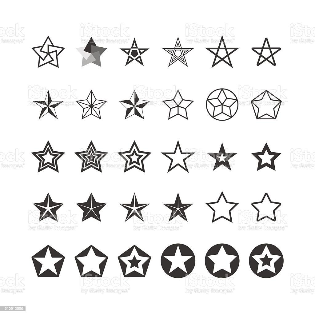 Star Icons Set. Black And White. Vector vector art illustration
