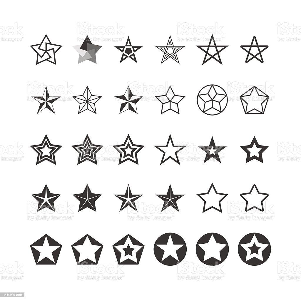 Star Icons Set. Black And White. Vector vector art illustration