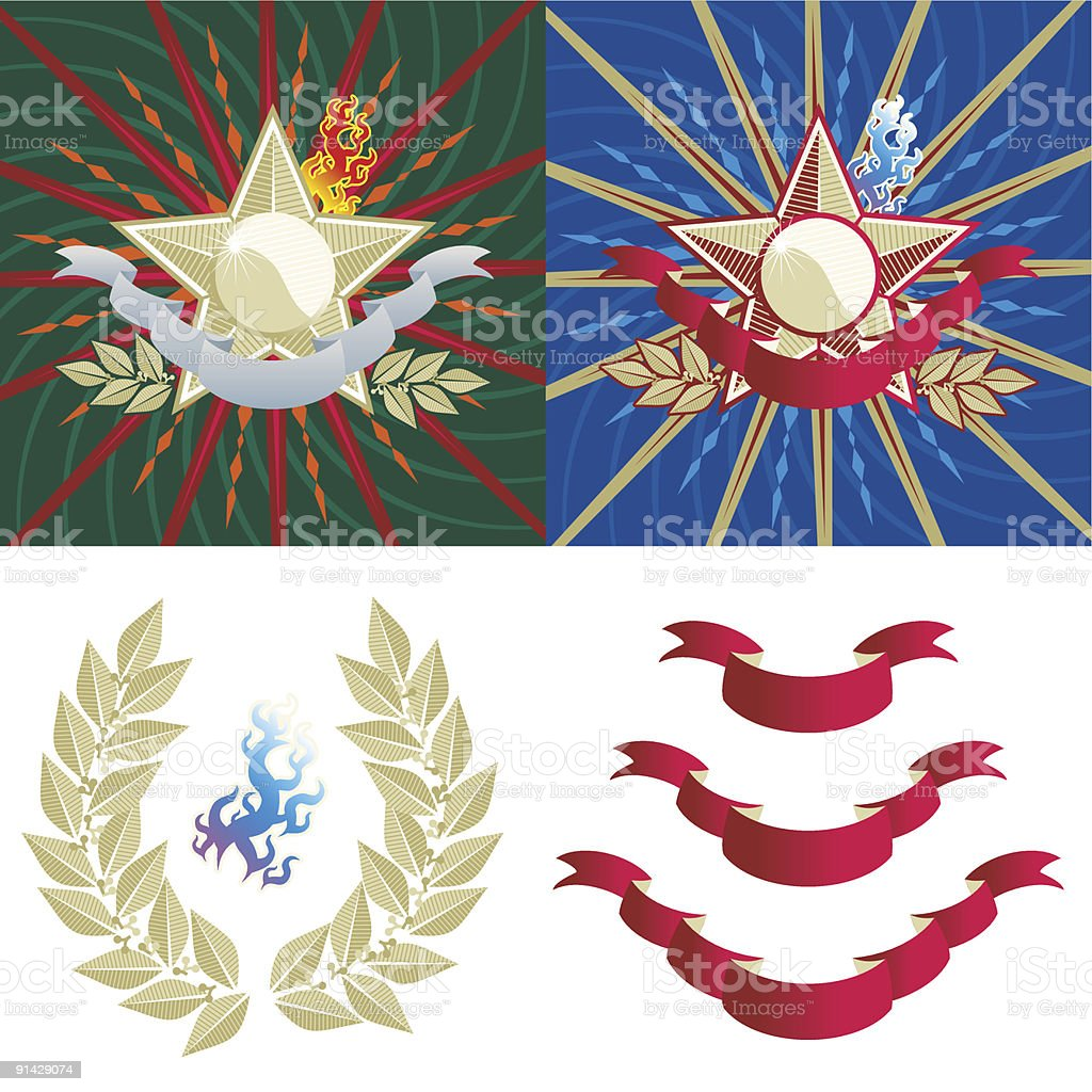 Star, laurel, flame, banner, rays, elements royalty-free stock vector art