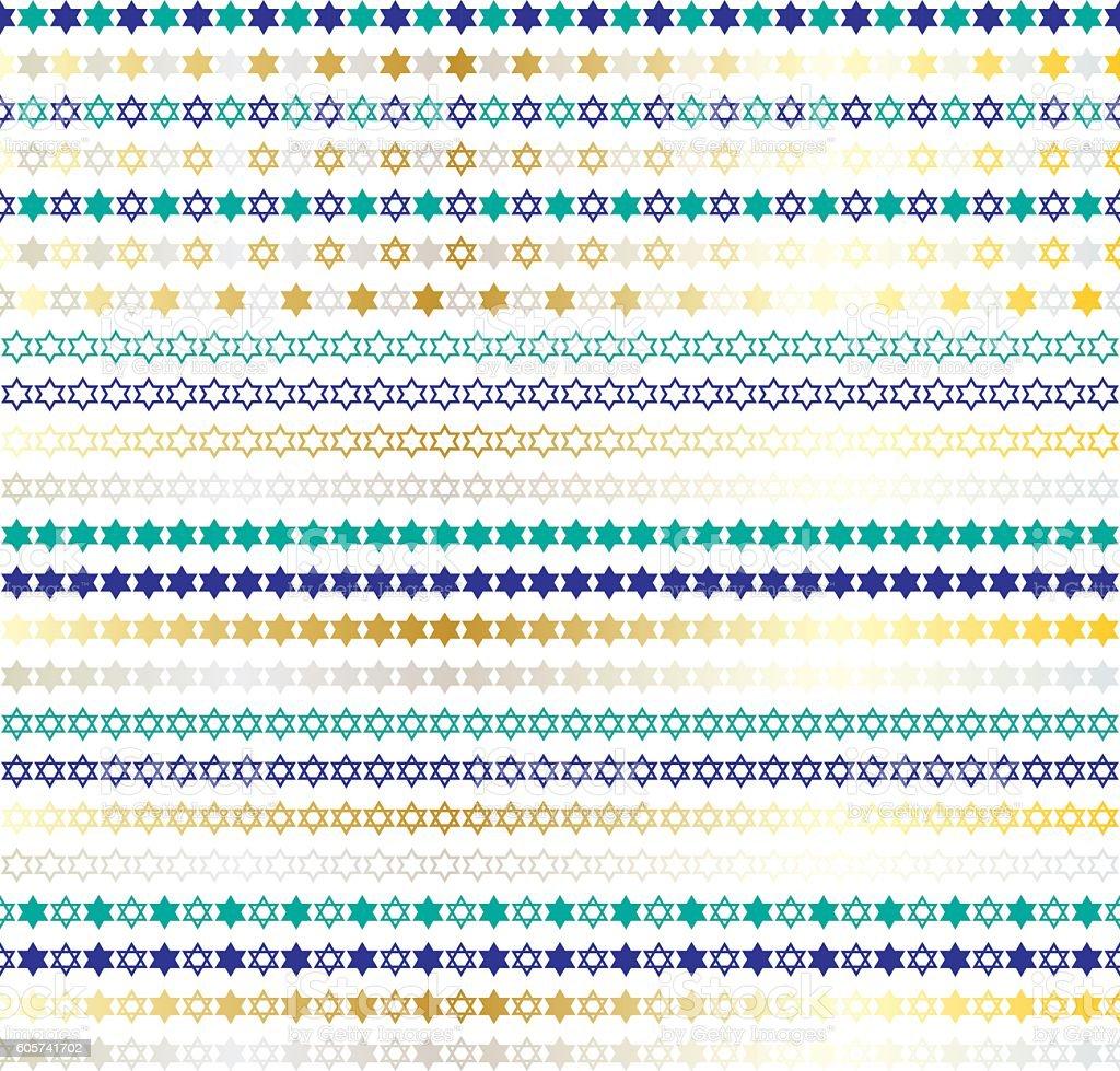 Star of David border patterns vector art illustration