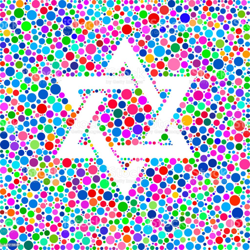 Star of David Icon on Color Circle Background Pattern vector art illustration