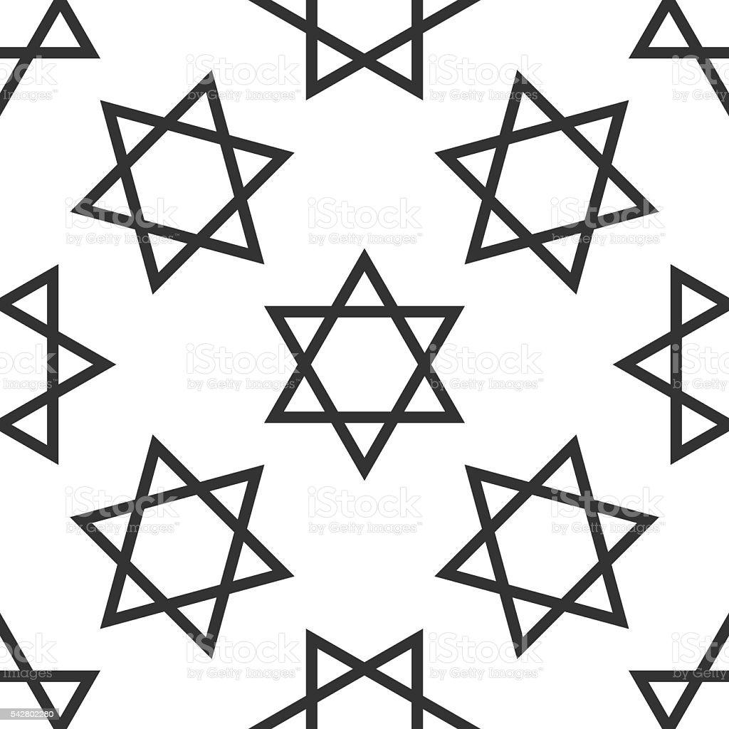 Star of David icon pattern on white background. Adobe illustrator vector art illustration