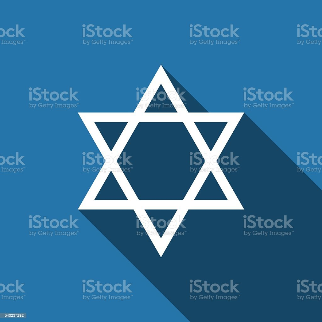 Star of David icon with long shadow. vector art illustration