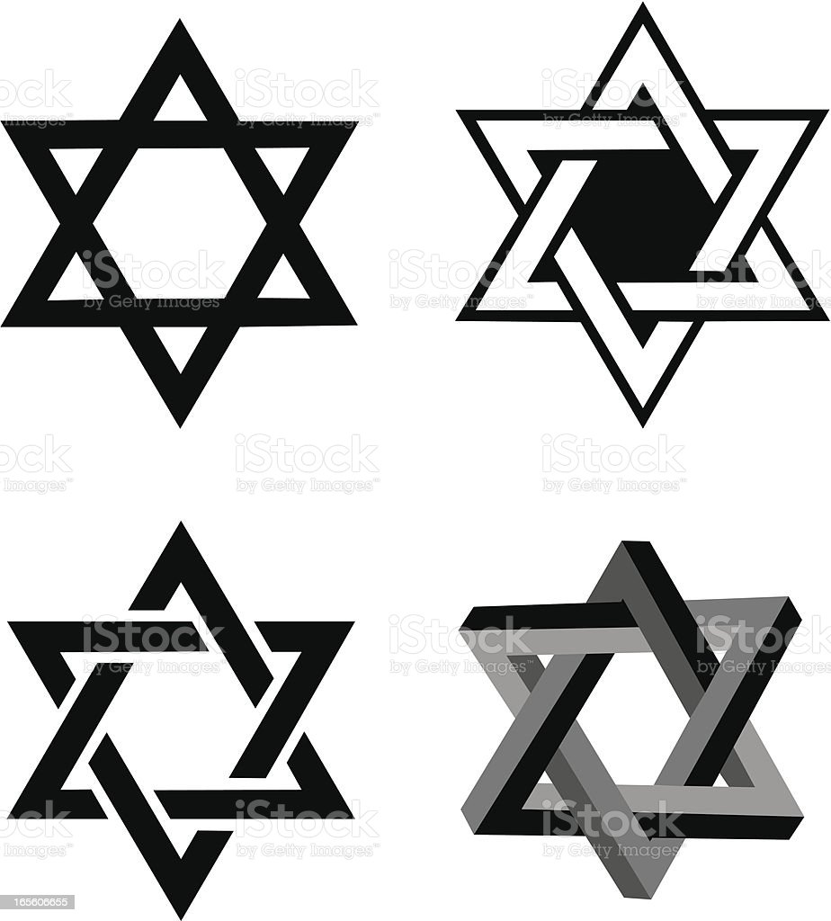 Star of David, Judaism Religion vector art illustration