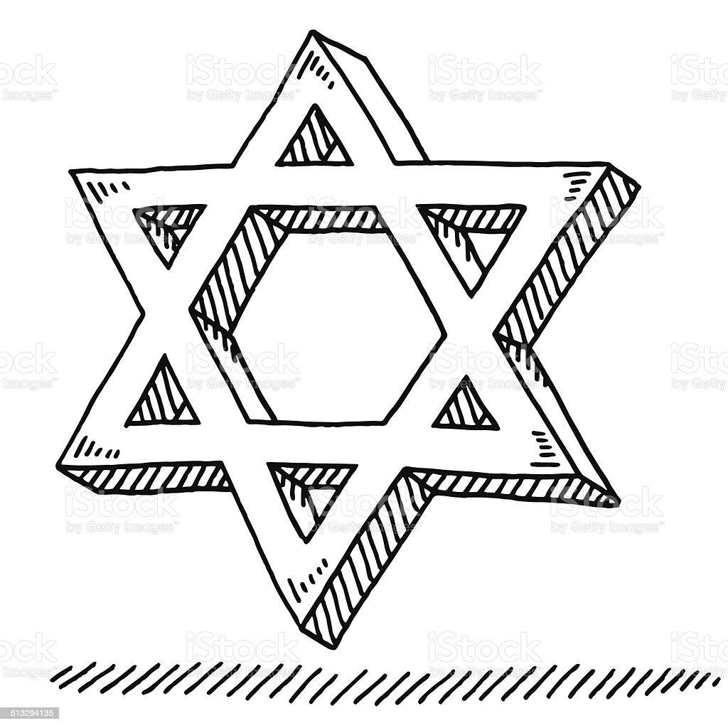 Star Of David Judaism Symbol Drawing vector art illustration