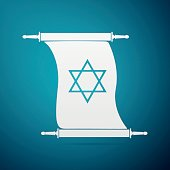 Star of David on scroll flat icon over blue background.