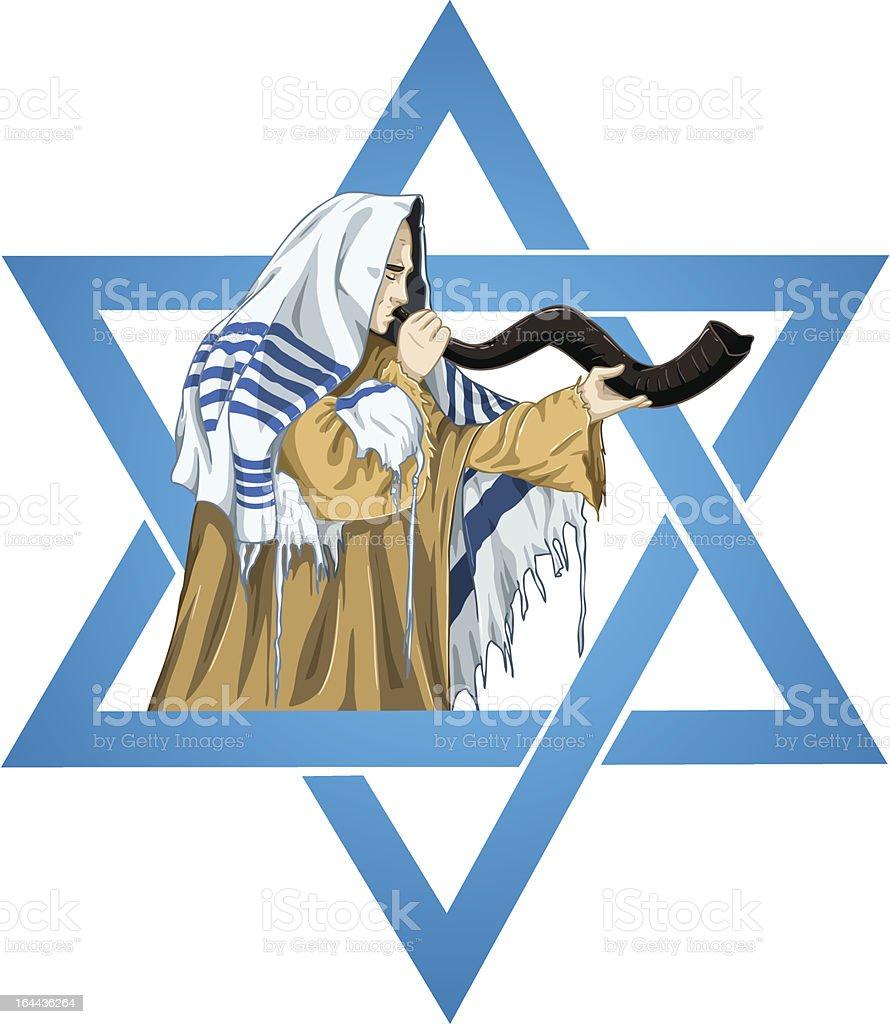 Star Of David Rabbi With Talit Blows The Shofar royalty-free stock vector art