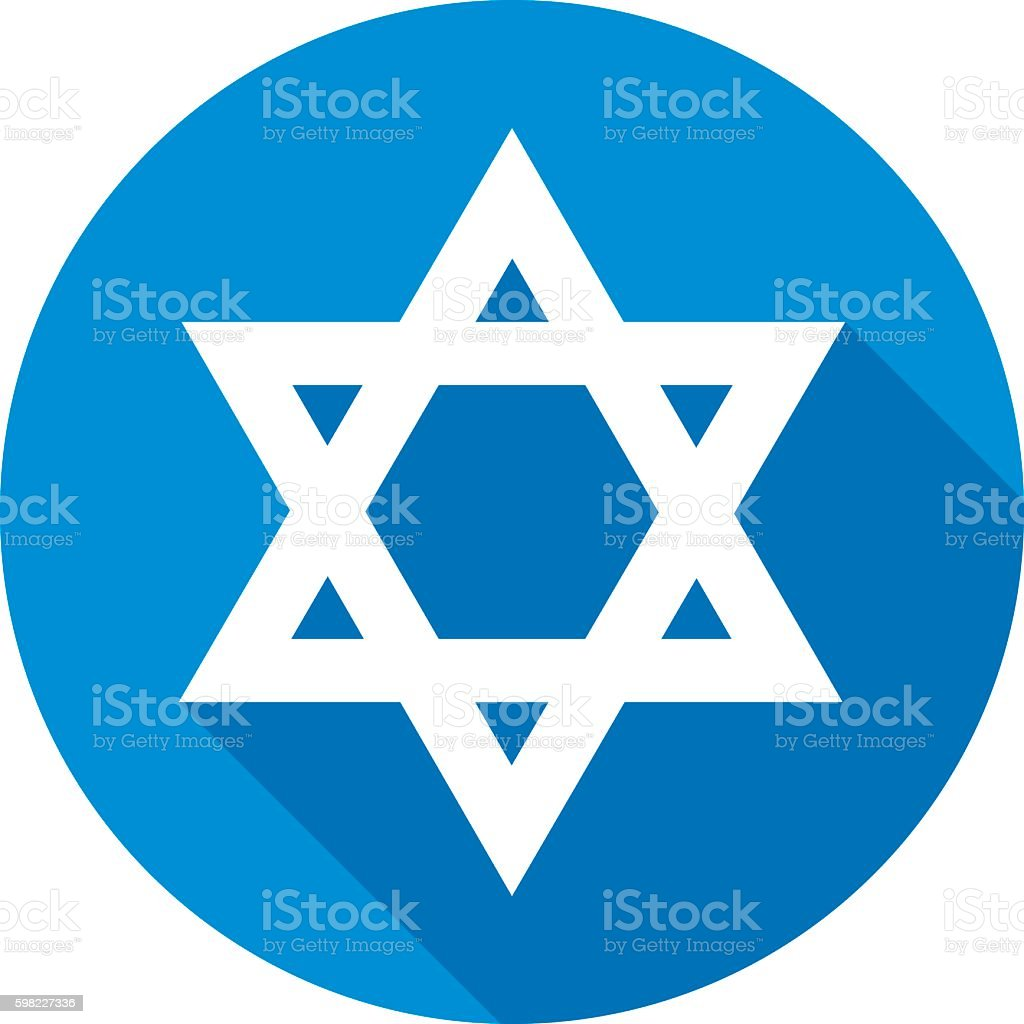 Star Of David Round Icon vector art illustration