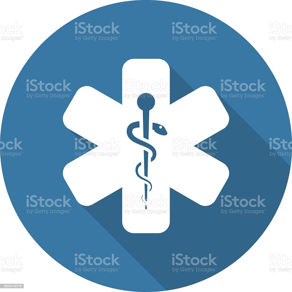 Star of Life Icon. Flat Design. vector art illustration