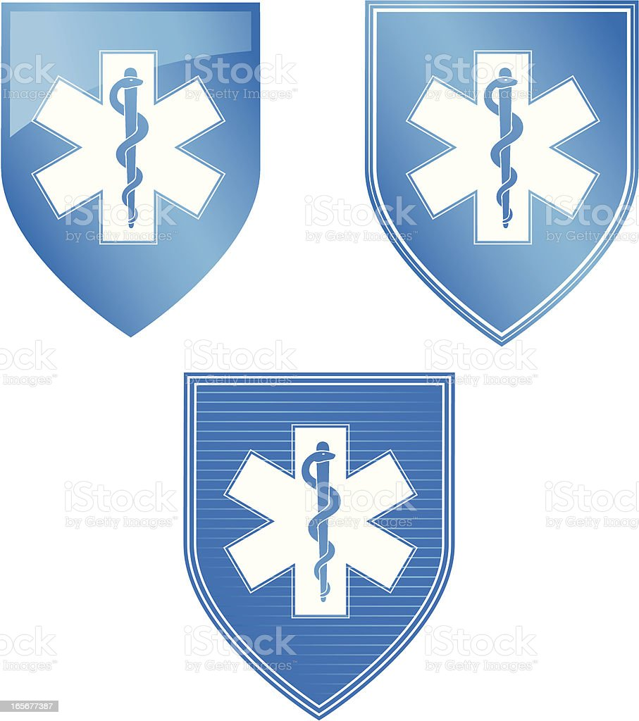 Star of Life on Blue Shield royalty-free stock vector art