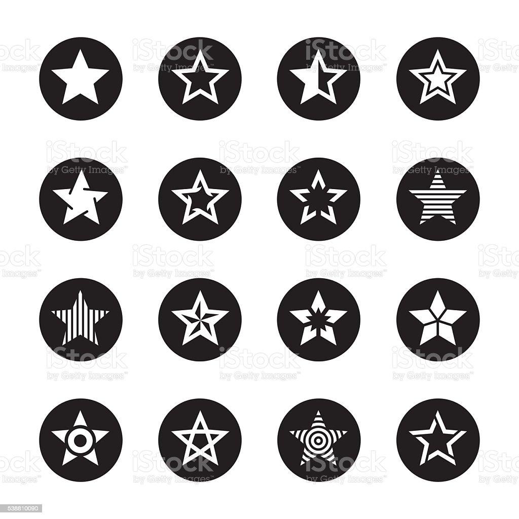 Star Shape Icons - Black Circle Series vector art illustration