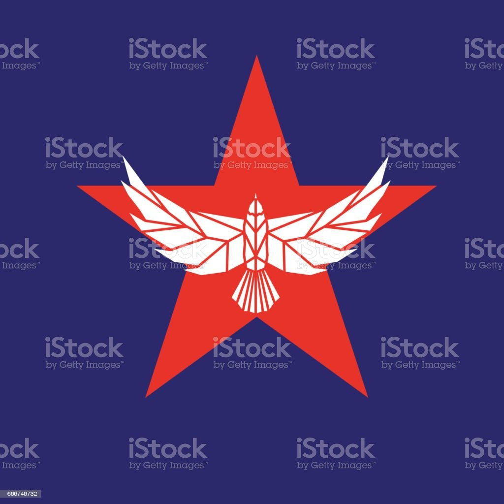 Star shape with eagle. Vector sign. vector art illustration