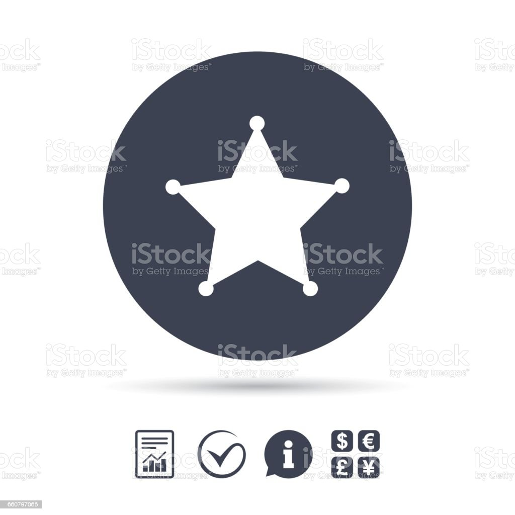 Star Sheriff sign icon. Police button. vector art illustration