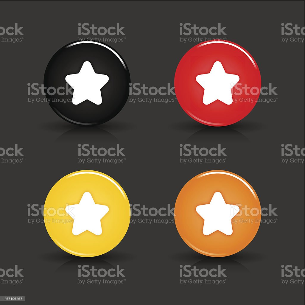 Star sign circle icon glossy black red yellow orange button royalty-free stock vector art