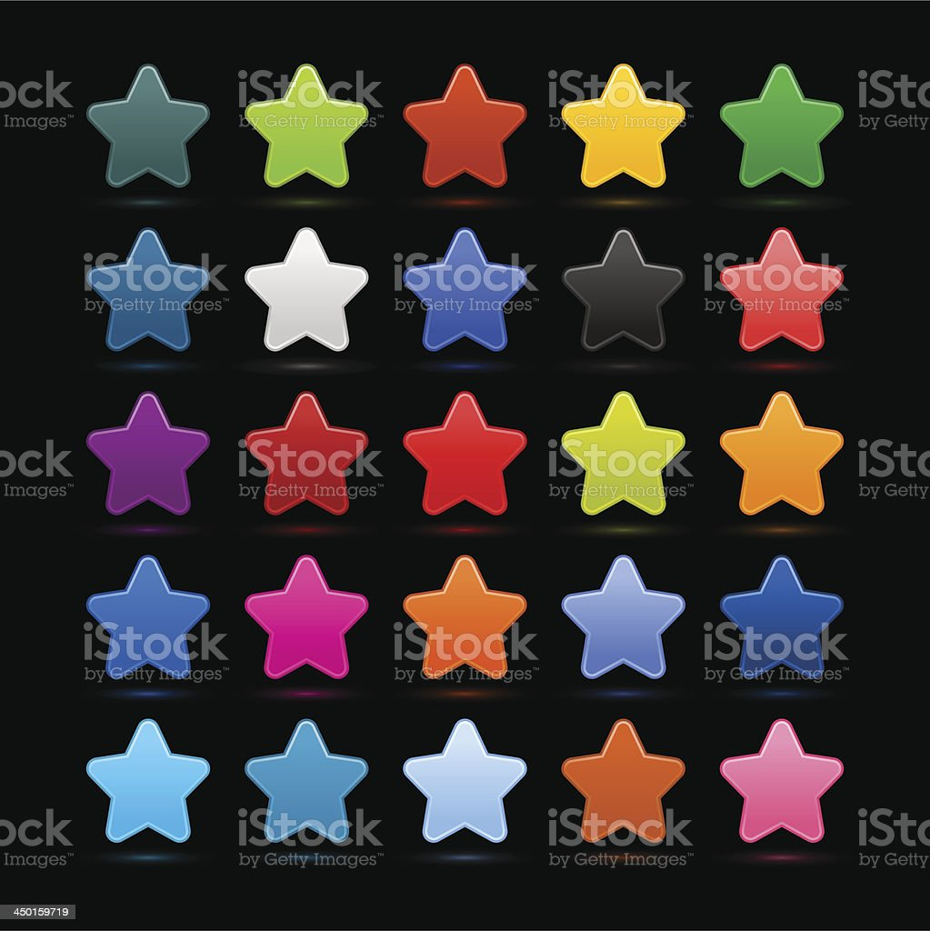 Star sign color icon web internet button black background royalty-free stock vector art