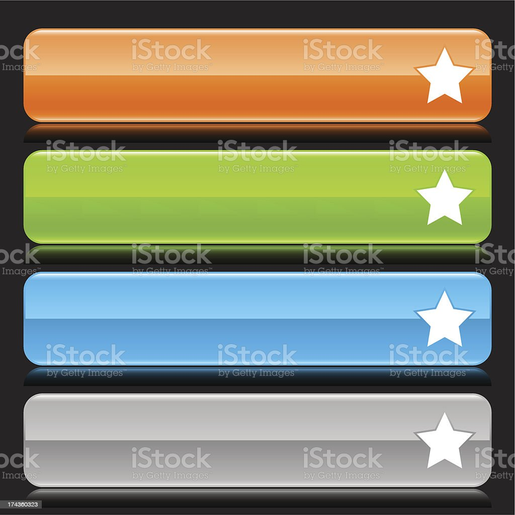 Star sign orange green blue gray button glossy icon royalty-free stock vector art