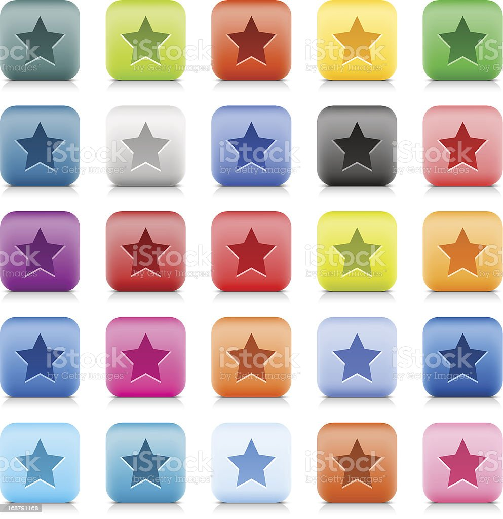 Star sign web button color stone satin style internet icon royalty-free stock vector art