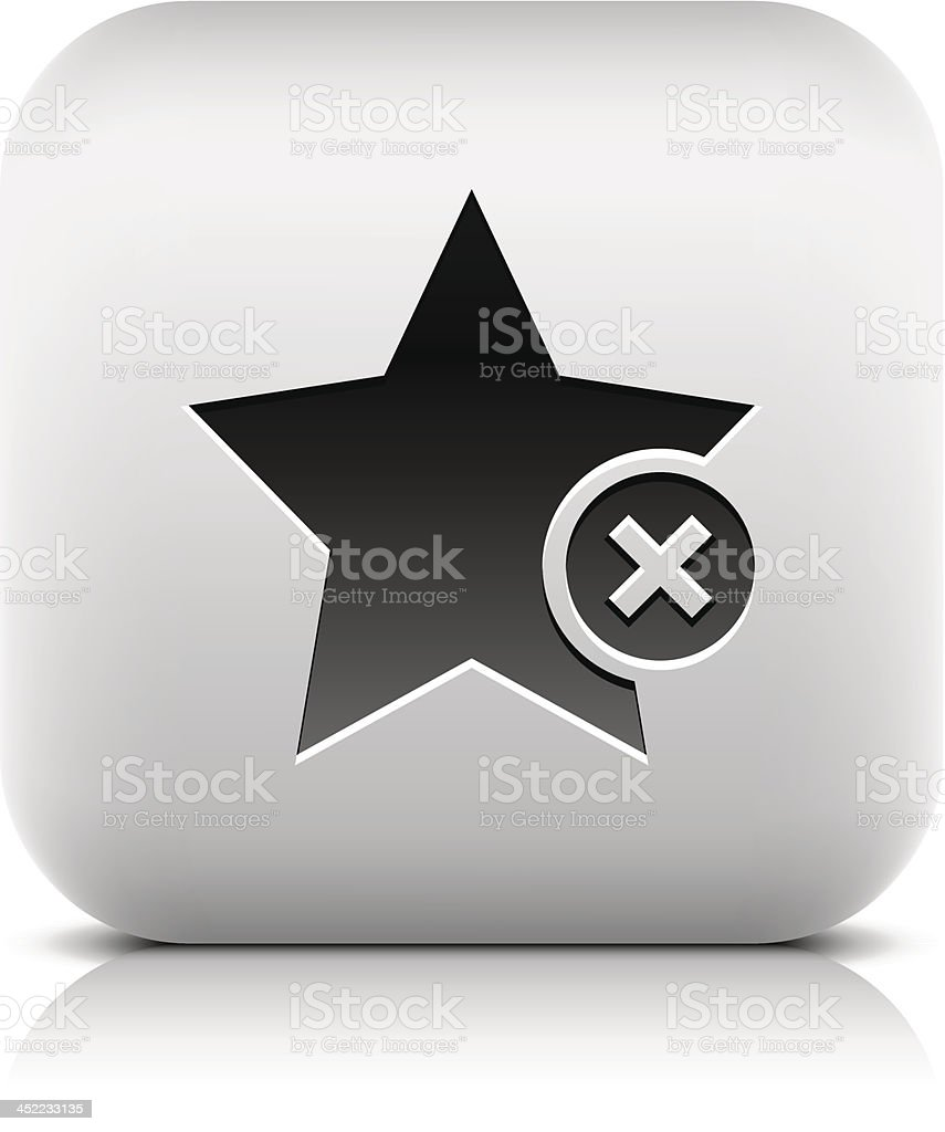 Star sign with delete pictogram square icon web button royalty-free stock vector art