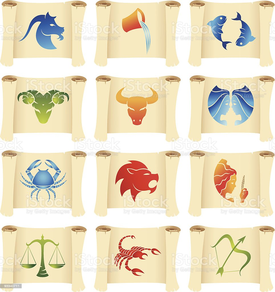 Star Signs on manuscripts royalty-free stock vector art