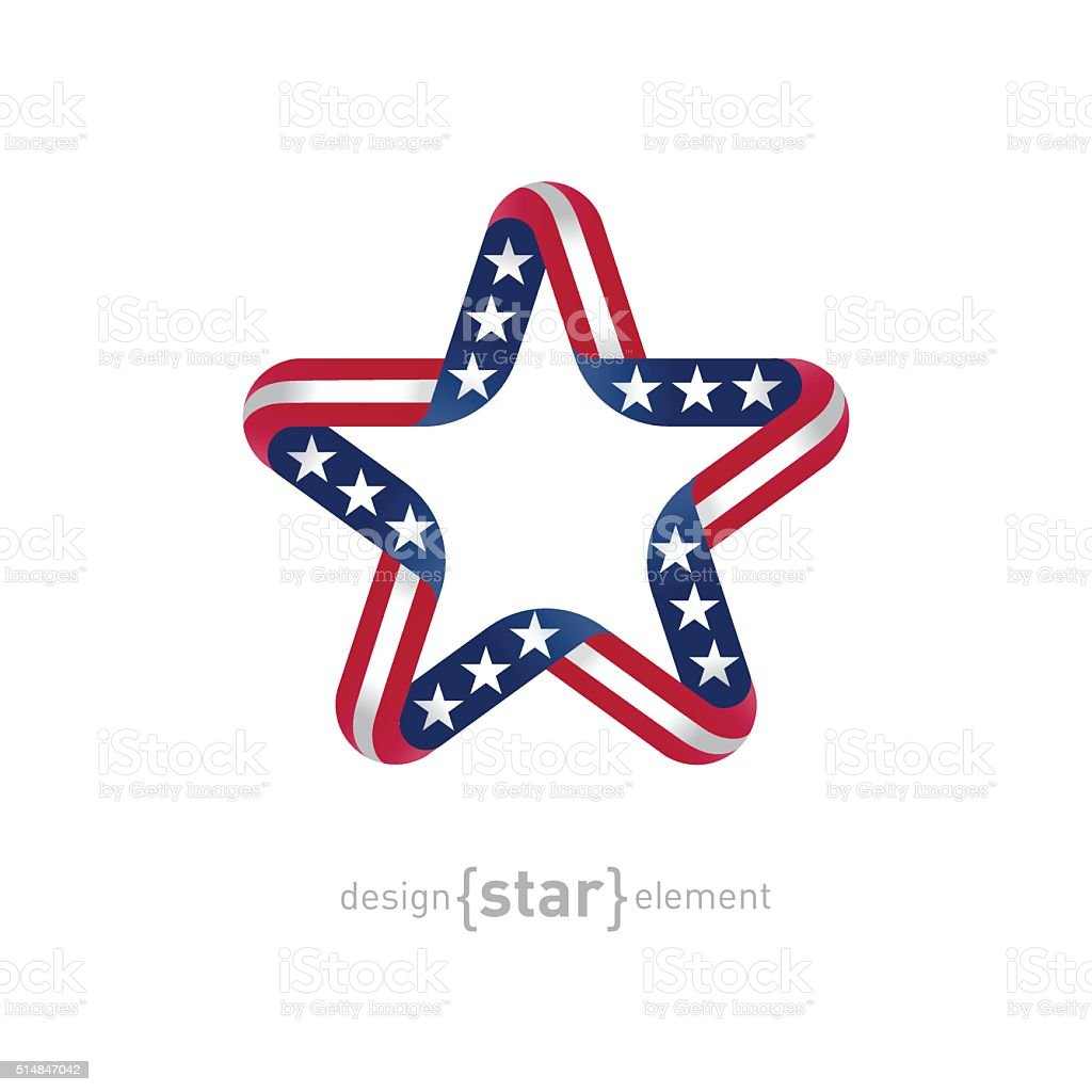 star with american flag colors and symbols vector design element vector art illustration