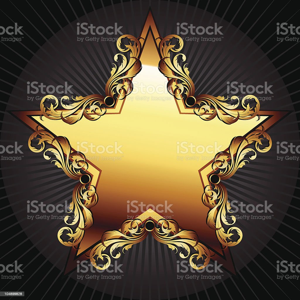 star with floral elements royalty-free stock vector art