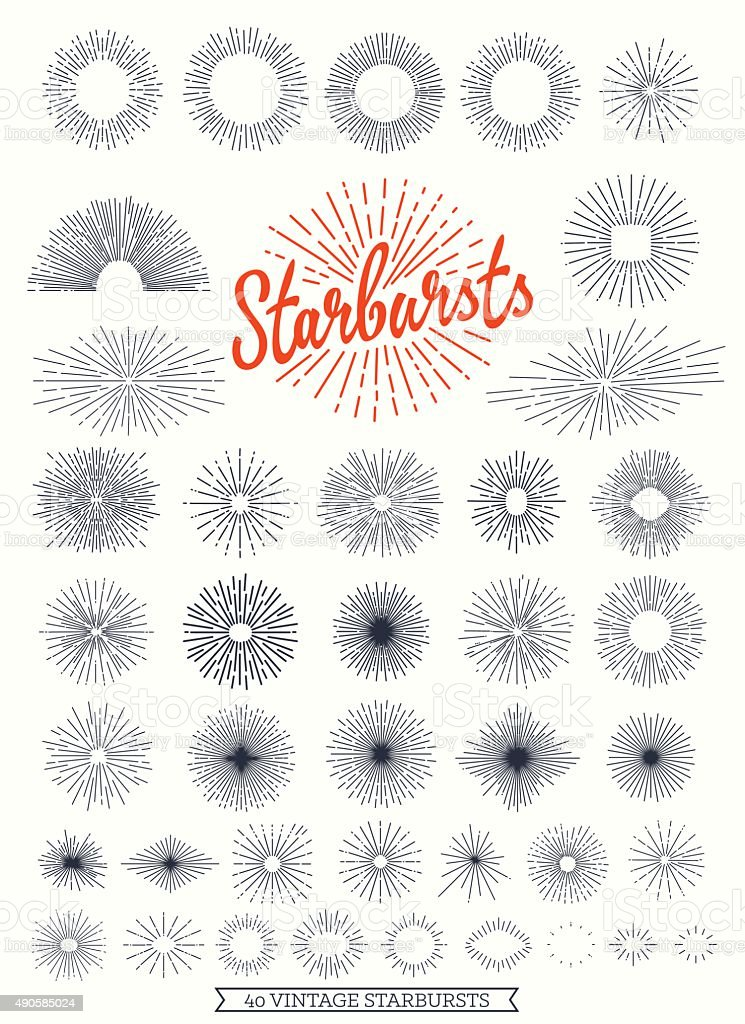 Starbursts collection for vintage retro logos vector art illustration