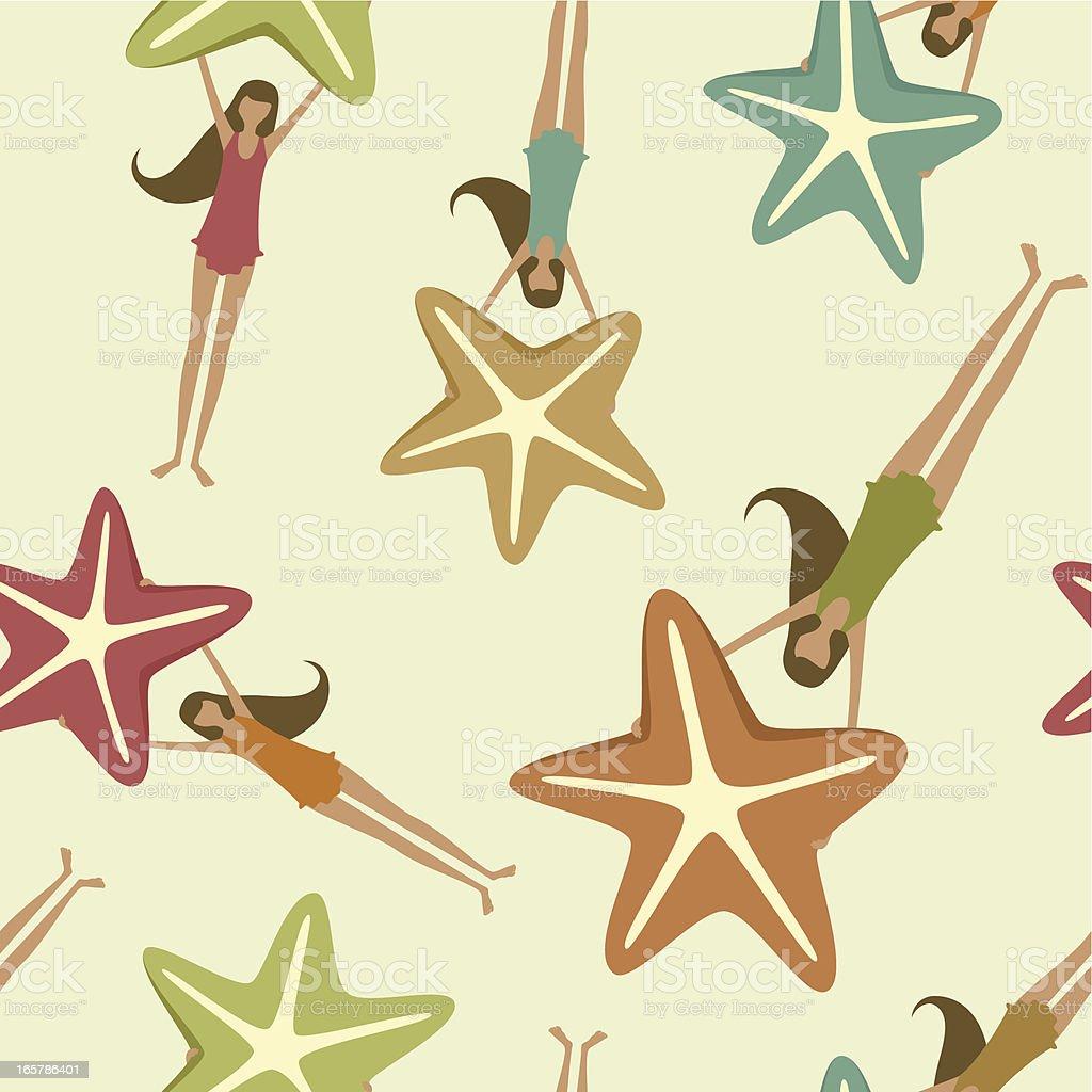 Starfish and girl pattern royalty-free stock vector art
