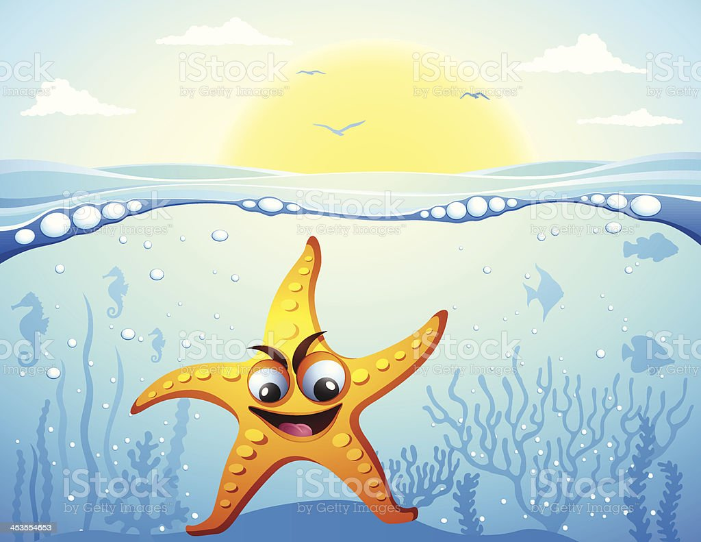Starfish under the sea royalty-free stock vector art