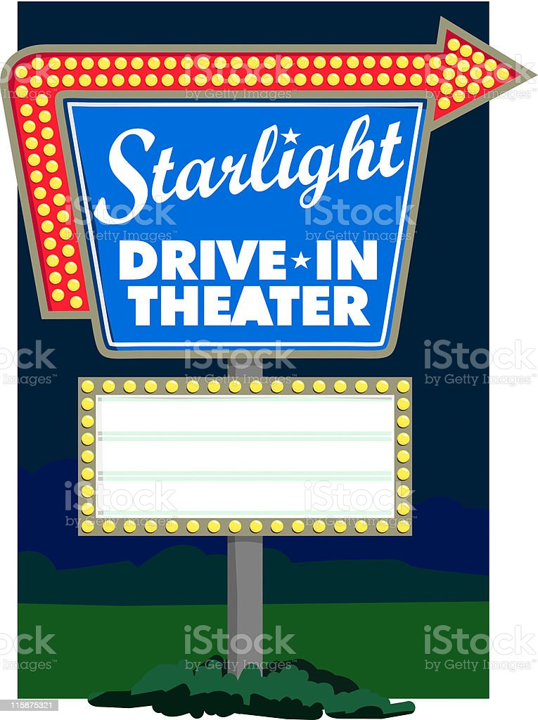 Starlight Drive-In Theater royalty-free stock vector art