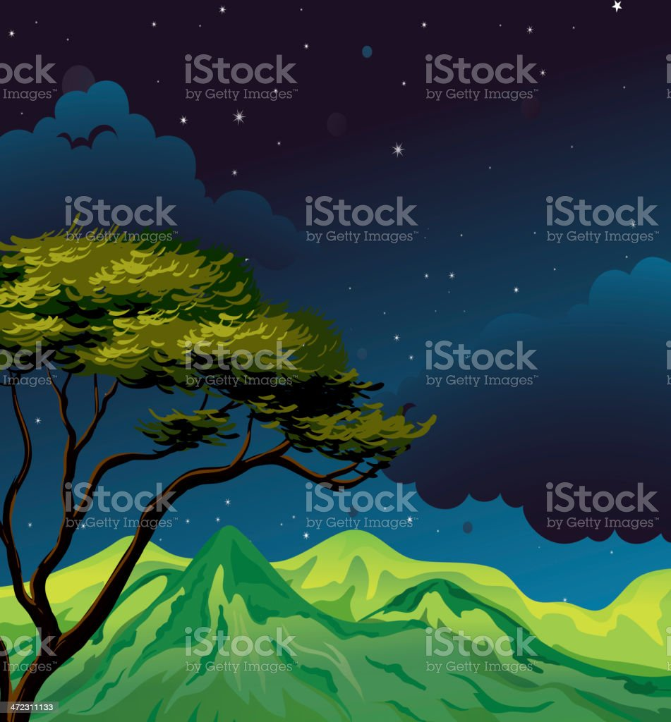 Starry evening royalty-free stock vector art