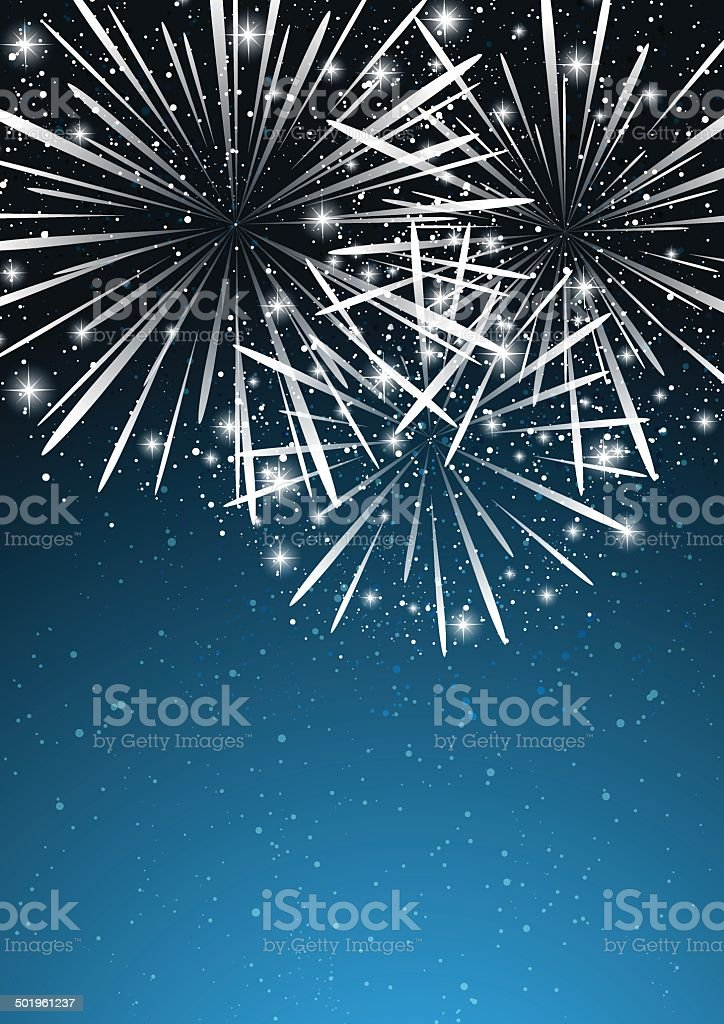 Starry fireworks on blue background royalty-free stock vector art