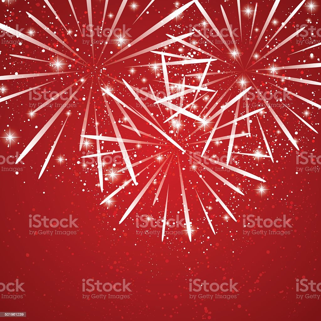 Starry fireworks on red background royalty-free stock vector art