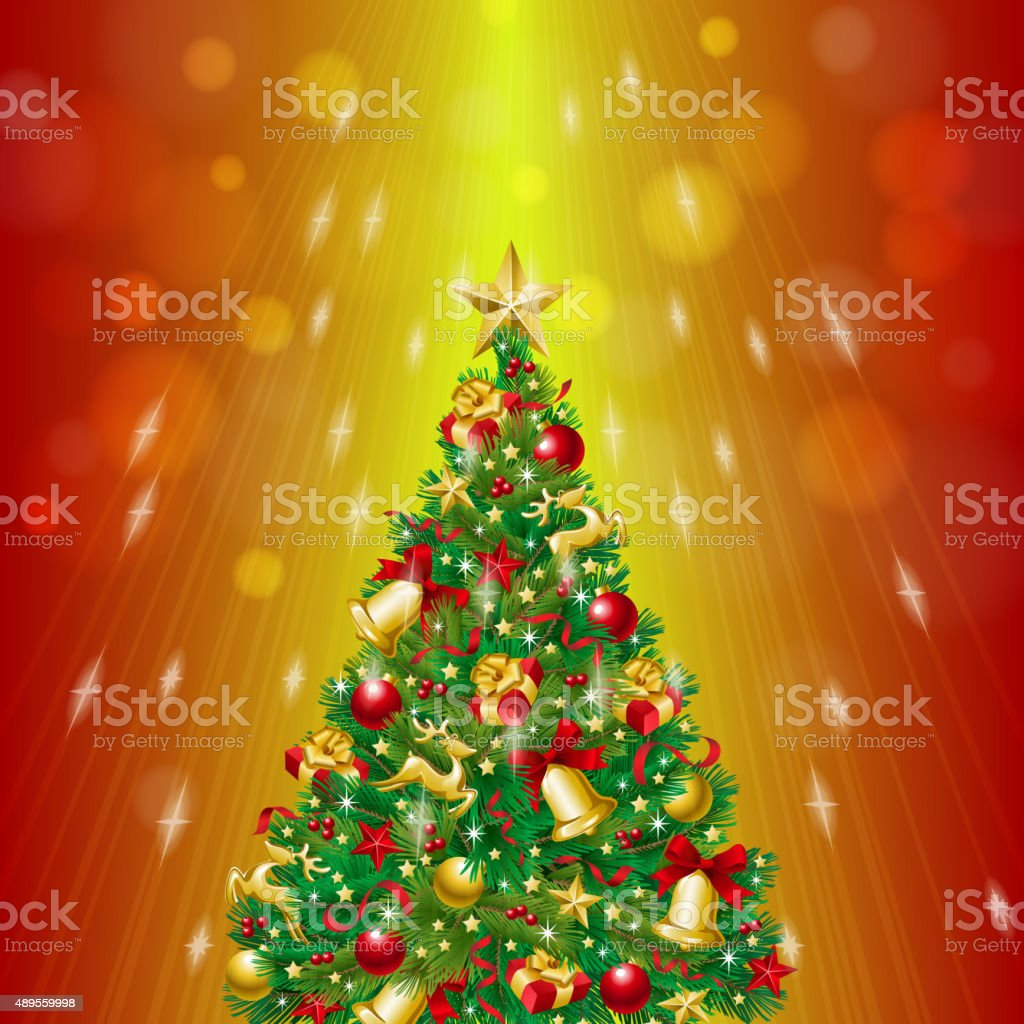 Starry Flash Christmas Tree with Ornament vector art illustration