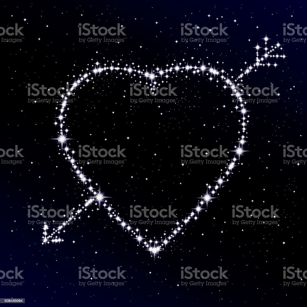 Starry heart pierced with arrow. Valentine's day abstract background. vector art illustration